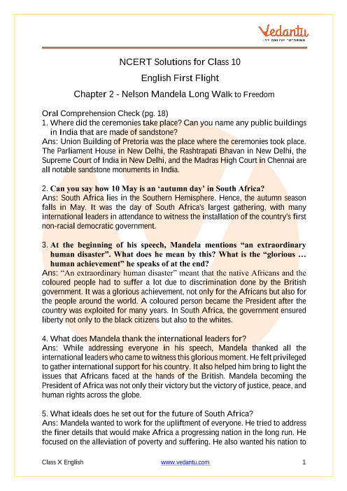 Access NCERT Solutions for Class 10 English First Flight Chapter -2 Nelson Mandela Long Walk to Freedom part-1