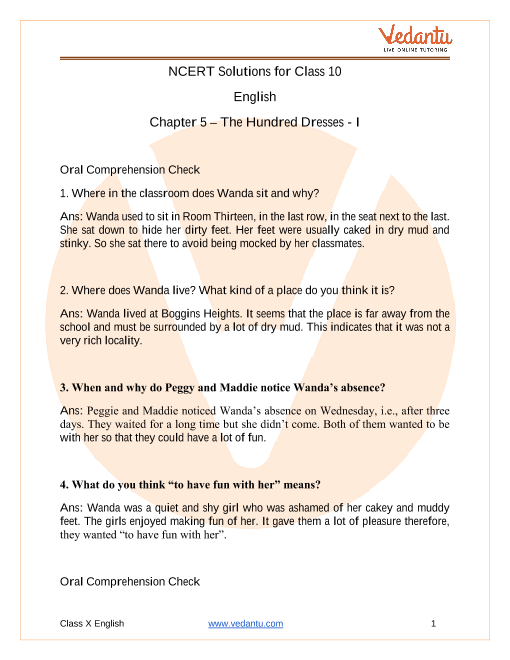 NCERT Solutions for Class 10 English First Flight Chapter 5 The Hundred Dressess 1 part-1