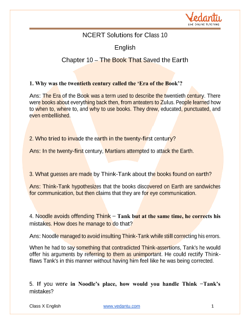 Access NCERT Solutions For Class 10 English Chapter 10 – The Book That Saved the Earth part-1
