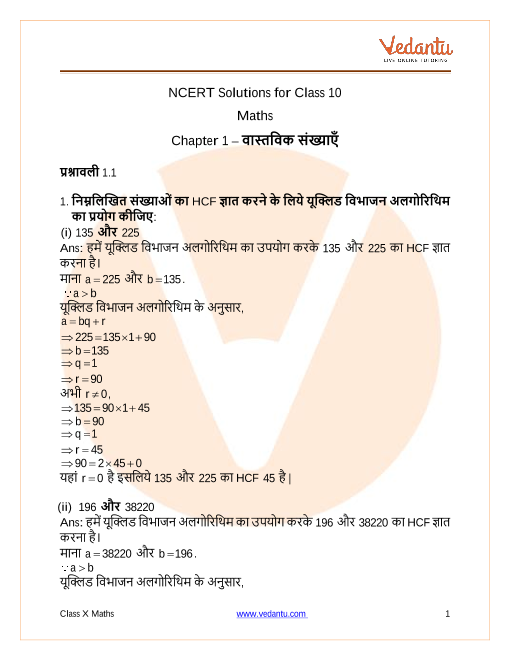 NCERT Solutions for Class 10 Maths Chapter 1 Real Numbers part-1