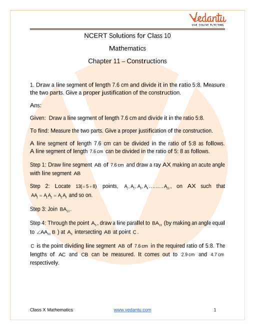 NCERT Solutions for Class 10 Maths Chapter 11 Constructions part-1
