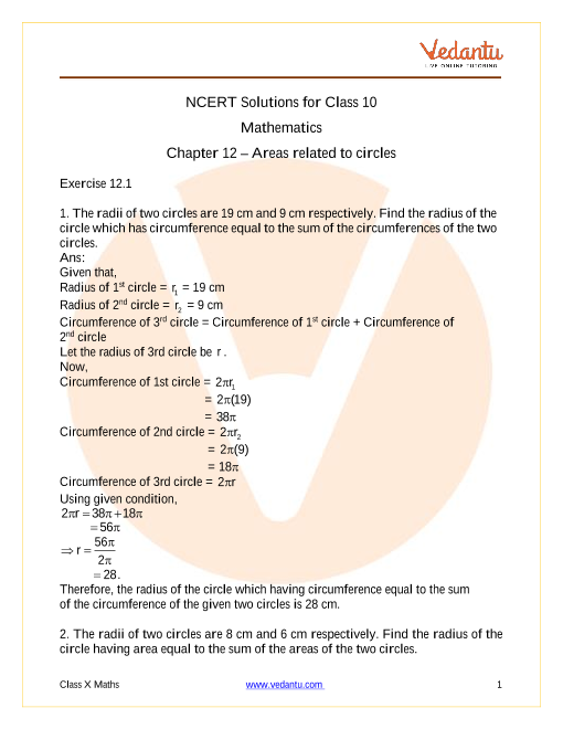 Access NCERT Solutions for Class 10 Mathematics Chapter 12 – Areas related to circles part-1