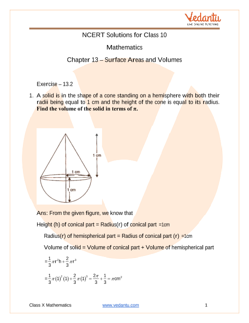 Access NCERT Solutions for Class-10 Maths Chapter 13 – Surface Areas and Volumes part-1