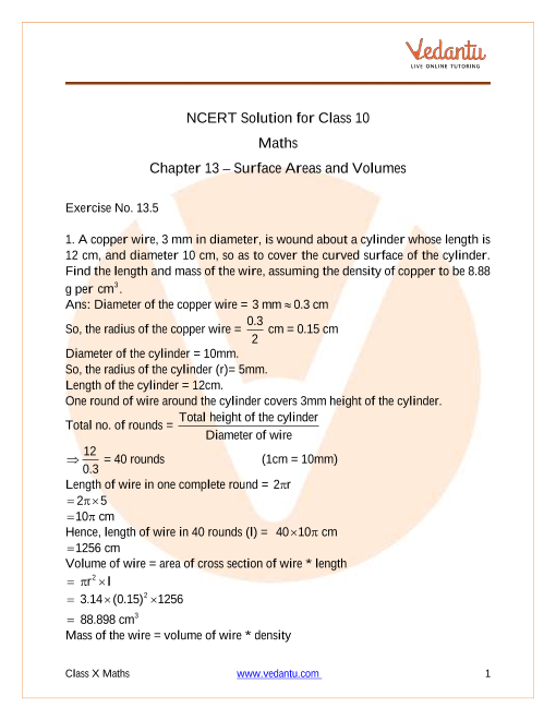 NCERT Solutions for Class 10 Maths Chapter 13 Surface Areas And Volumes (Ex 13.5) Exercise 13.5 part-1
