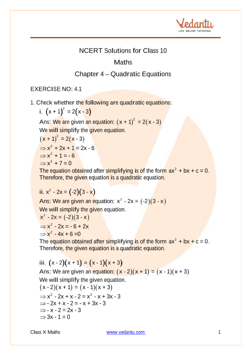 Access NCERT Solutions for Maths Chapter 4 – Quadratic Equations part-1