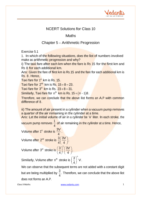 NCERT Solutions for Class 10 Maths Chapter 5 Arithmetic Progressions part-1