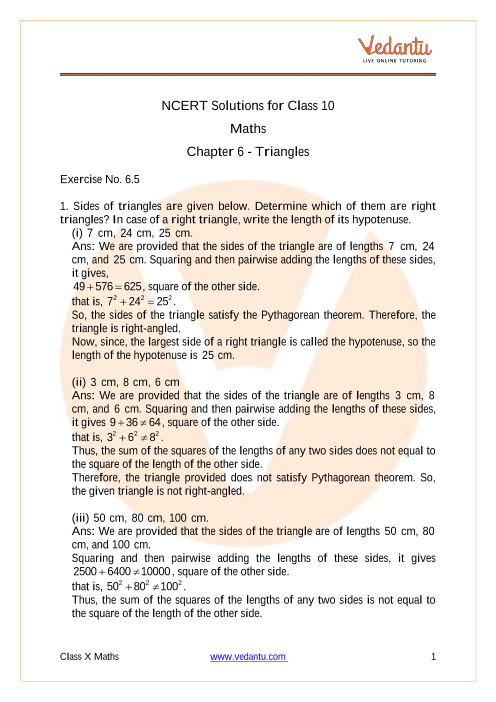 Access NCERT Solutions for Class 10 Maths Chapter - 6 - Triangles part-1