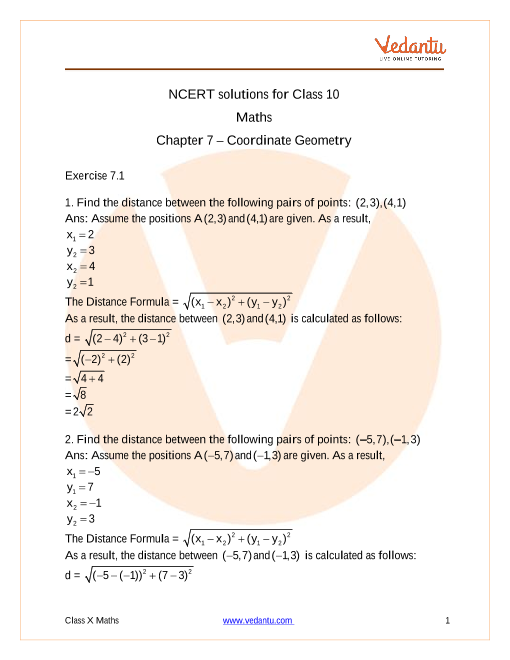 Access NCERT solutions for Maths  Chapter 7 – Coordinate Geometry part-1