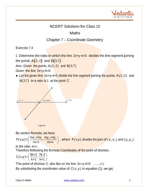 Access NCERT Solutions for Class-10 Maths Chapter 7 – Coordinate Geometry (2) part-1