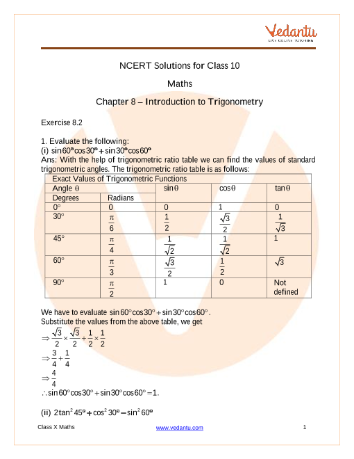Access NCERT Solutions for Class -10 Maths  Chapter 8 – Introduction to Trigonometry part-1