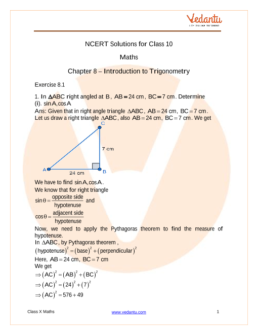 NCERT Solutions for Class 10 Maths Chapter 8 Introduction to Trigonometry part-1