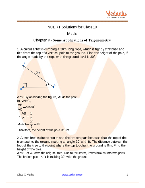 NCERT Solutions for Class 10 Maths Chapter 9 Some Applications of Trigonometry part-1