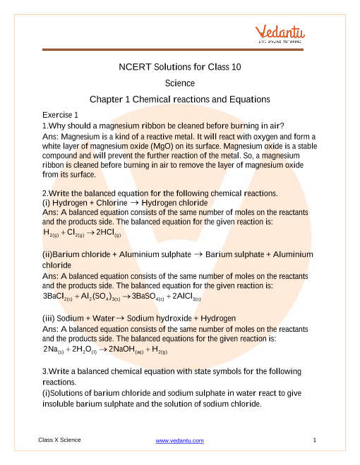 NCERT Solutions for Class 10 Science Chapter 1 Chemical Reactions and Equations part-1