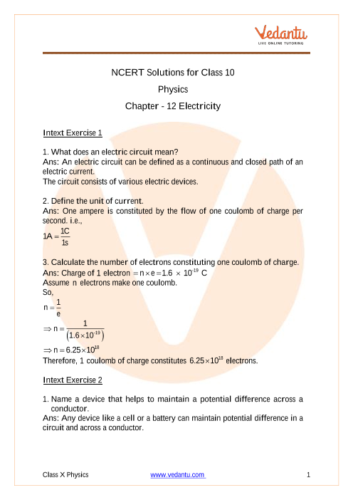 Class X Science Chapter 12 questions part-1
