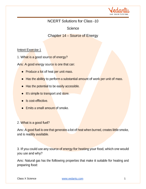 NCERT Solutions for Class 10 Science Chapter 14 Sources of Energy part-1