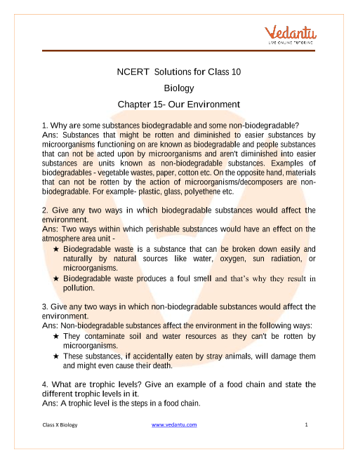 NCERT Solutions for Class 10 Science Chapter 15 Our