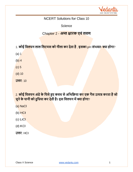 NCERT Solutions for Class 10 Science Chapter 2 Acids, Bases and Salts in Hindi PDF Download part-1