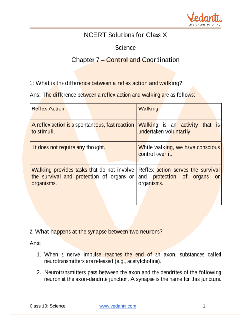 NCERT Solutions for Class 10 Science Chapter 7 Control and