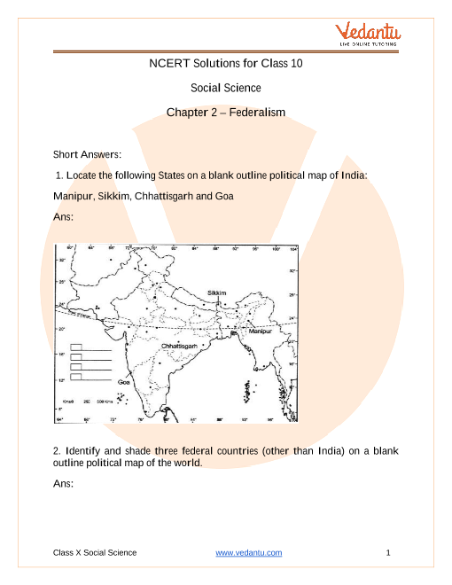 Access NCERT Solutions for Class 10 Social Science Chapter 2 – Federalism part-1