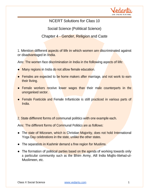 Access NCERT Solutions for Class 10 Social Science (Political Science) Chapter - 4 (Gender, Religion and Caste) part-1