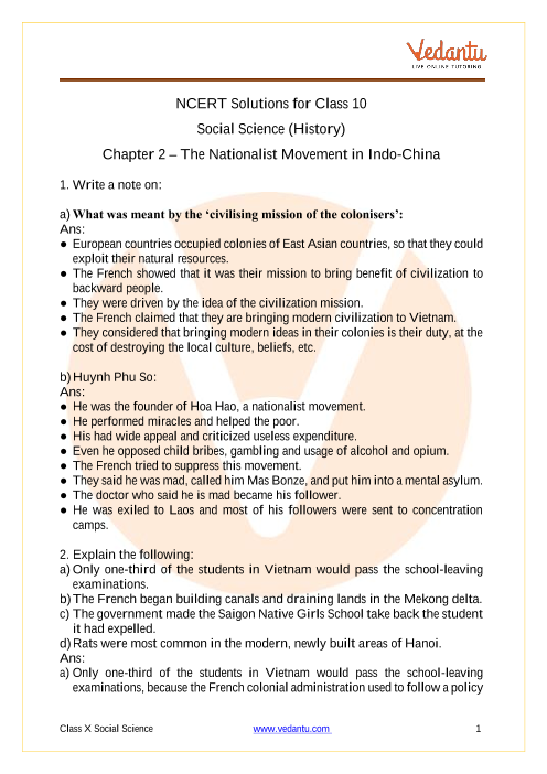 NCERT Solutions for Class 10 Social Science India and the Contemporary World 2 Chapter 2 The Nationalist Movement in Indo China part-1