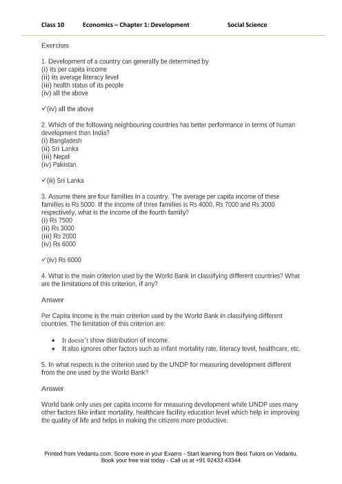 NCERT Solutions for Class 10 Social Science Understanding Economic Development Chapter 1 Development part-1