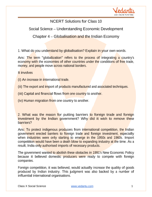 NCERT Solutions for Class 10 Social Science Understanding Economic Development Chapter 4 Globalisation and the Indian Economy part-1