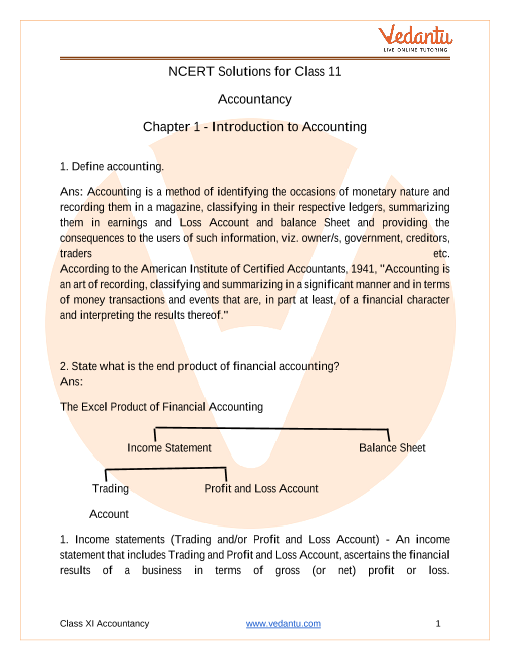 NCERT Solutions for Class 11 Accountancy Chapter 1 Introduction to Accounting part-1
