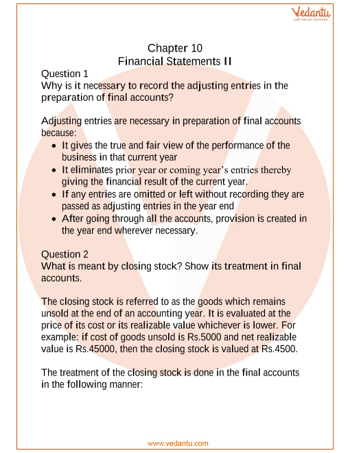 NCERT Solutions for Class 11 Accountancy Chapter 10 Financial Statements  2 part-1
