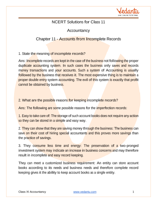 Access NCERT Solutions for Class 11 Accountancy Chapter 11- Accounts from Incomplete Records part-1