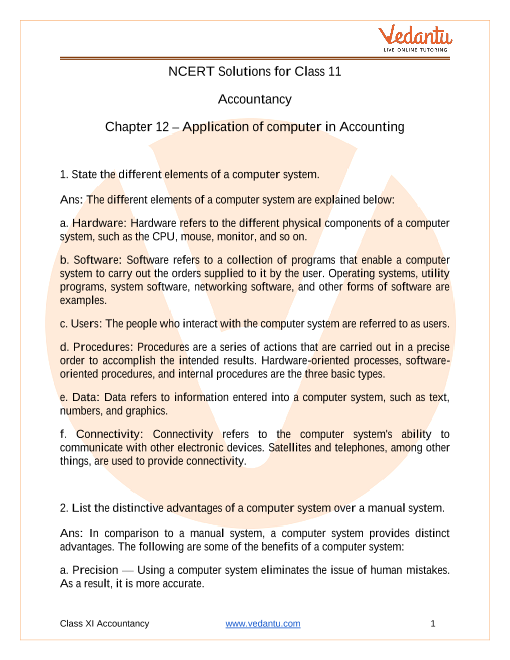 NCERT Solutions for Class 11 Accountancy Chapter 12 Applications of Computers in Accounting part-1