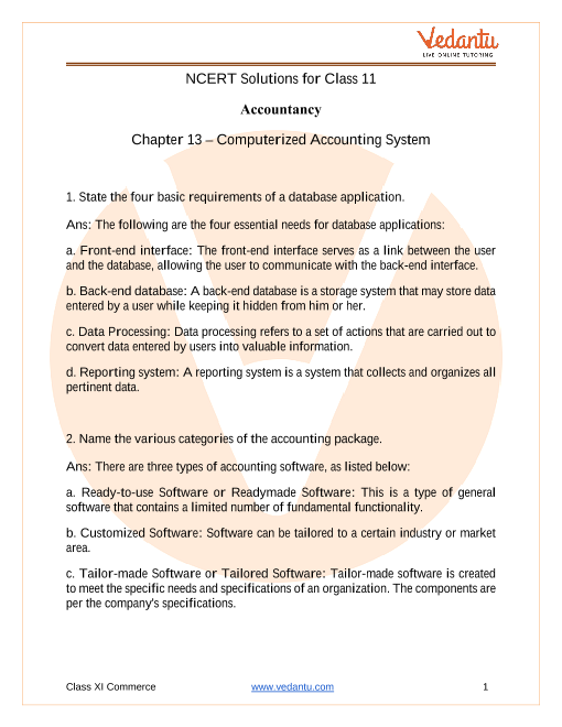 NCERT Solutions for Class 11 Accountancy Chapter 13 Computerised Accounting System part-1
