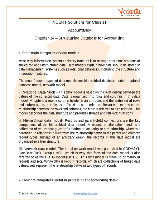 NCERT Solutions for Class 11 Accountancy Chapter 14 Structuring Database for Accounting part-1