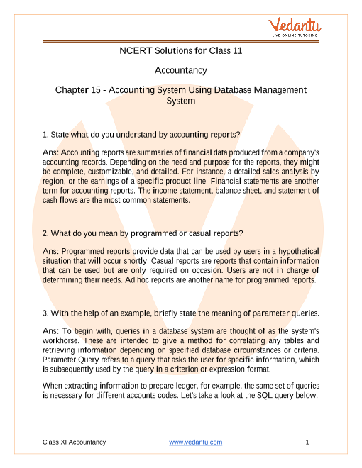 Access NCERT Solutions for Class 11 Accountancy Chapter 15 – Accounting System Using Database Management System part-1
