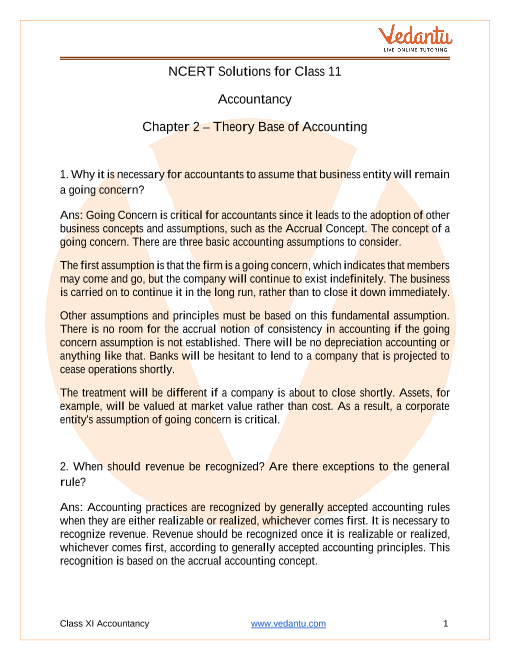 Access NCERT Solutions for Class 11 Accountancy Chapter 2 – Theory Base of Accounting part-1
