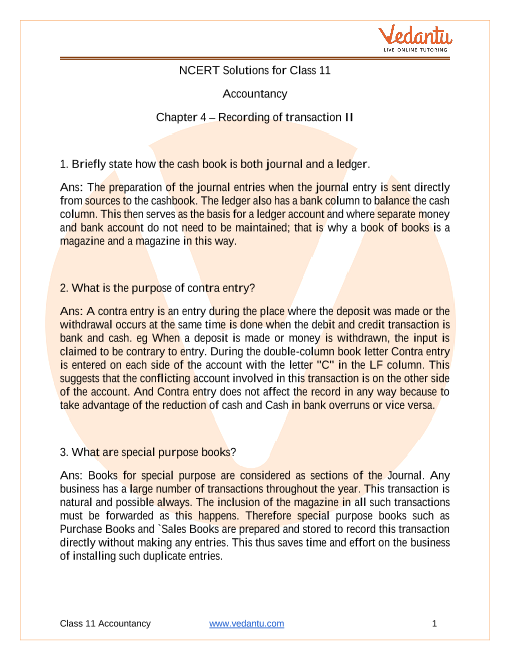 NCERT Solutions for Class 11 Accountancy Chapter 4 Recording of Transcations 2 part-1