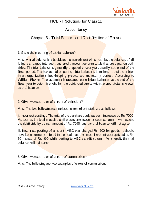 NCERT Solutions for Class 11 Accountancy Chapter 6 Trial Balance and Rectification of Errors part-1
