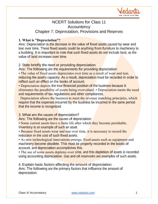 NCERT Solutions for Class 11 Accountancy Chapter 7 Depreciation, Provisions & Reserves part-1