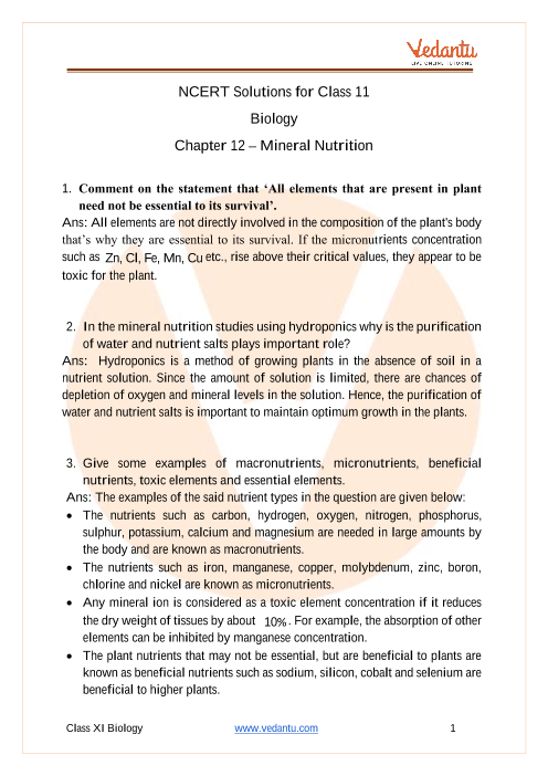 NCERT Solutions for Class 11 Biology Chapter 12 Mineral Nutrition part-1