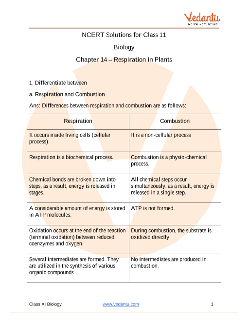 Access NCERT Solutions for Class 11 Biology Chapter 14 – Respiration in Plants part-1