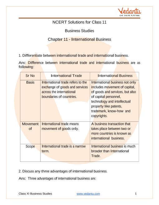 Access NCERT Solutions for Class 11 Business Studies Chapter 11 -  International Business part-1