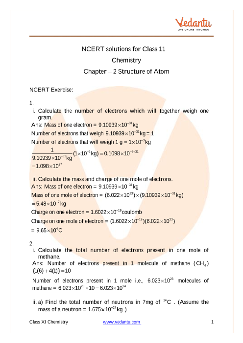 Ncert Solutions For Class 11 Chemistry Chapter 2 Structure Of Atom Free Pdf