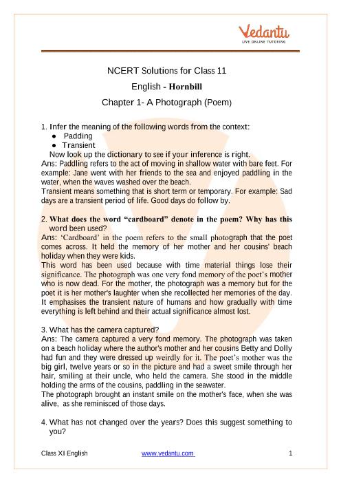 Access NCERT Solutions for Class 11 English Hornbill Chapter 1- A Photograph (Poem) part-1