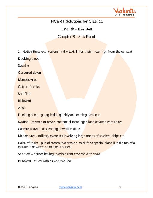NCERT Solutions for Class 11 English Hornbill Chapter 8 - Silk Road part-1