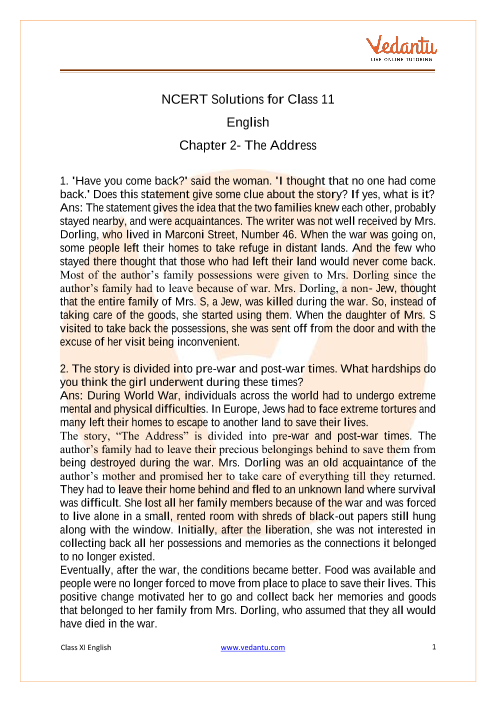Access NCERT Solutions for Class 11 English Snapshots Chapter 2- The Address part-1
