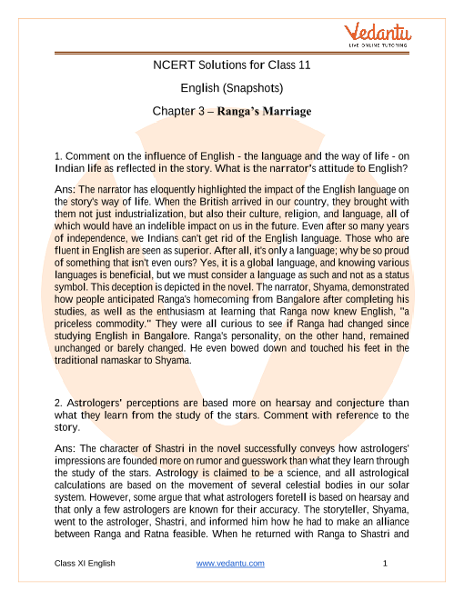 NCERT Solutions for Class 11 English Snapshots Chapter 3 - Ranga's Marriage part-1