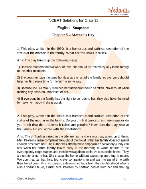 NCERT Solutions for Class 11 English Snapshots Chapter 5 Mother's Day part-1