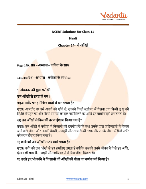 Access NCERT Solutions for Hindi Chapter 14- वे आँखें part-1