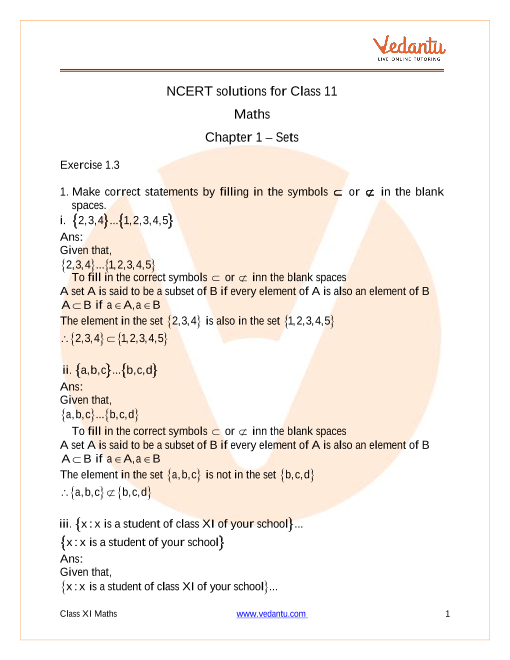 NCERT Solutions for Class 11 Maths Chapter 1 Sets (Ex 1.3) Exercise 1.3 part-1