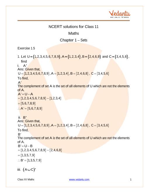 Access NCERT solutions for Class 11 Mathematics Chapter 1 – Sets part-1